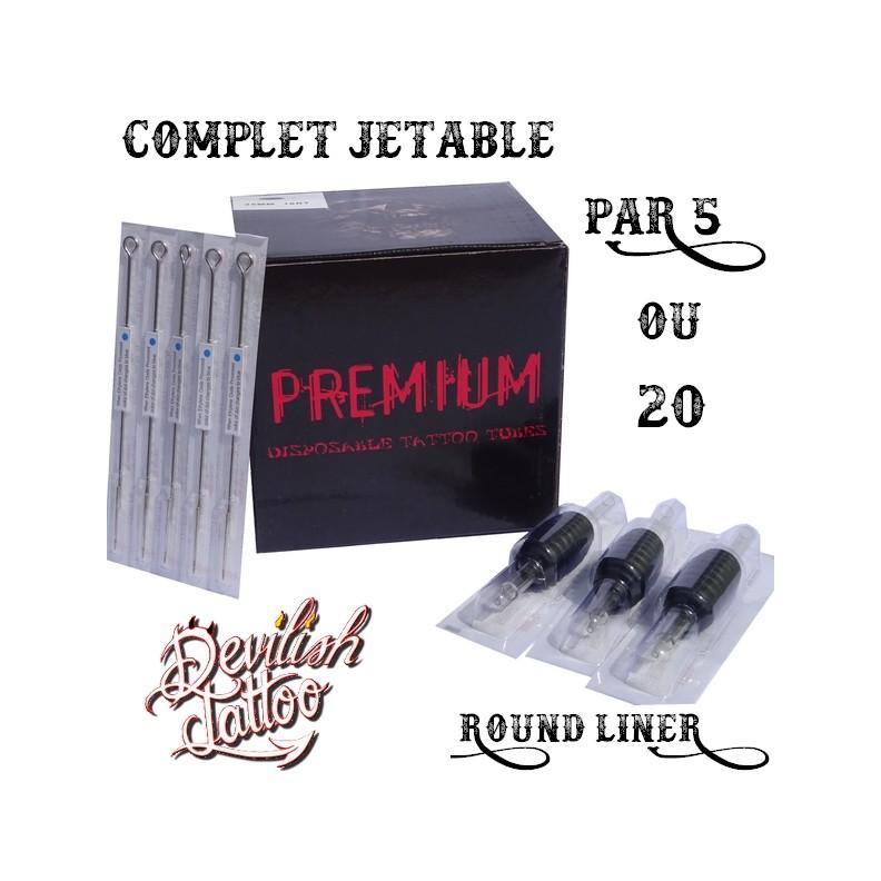 Set complet jetable tube + aiguilles - Round Liner - Par 5 ou 20