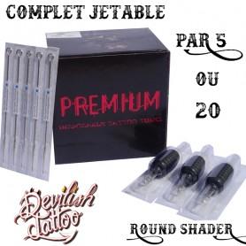 Set complet jetable tube + aiguilles - Round Shader - Par 5 ou 20