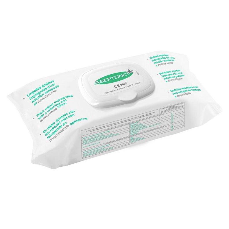 Lingettes nettoyantes et désinfectantes ASEPTONET x 100